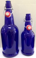 EZ CAP 1 liter (33.7 fl. oz.) Blue Flip-Top bottles (dz)